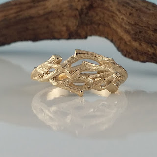 Men's Or Women's Organic Branch Wedding Band cast in solid 14k and 18k Gold.