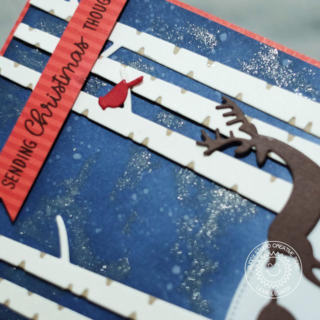 Sunny Studio Stamps: Rustic Winter Dies Woodland Borders Starry Night Sky Christmas Card by Lexa Levana