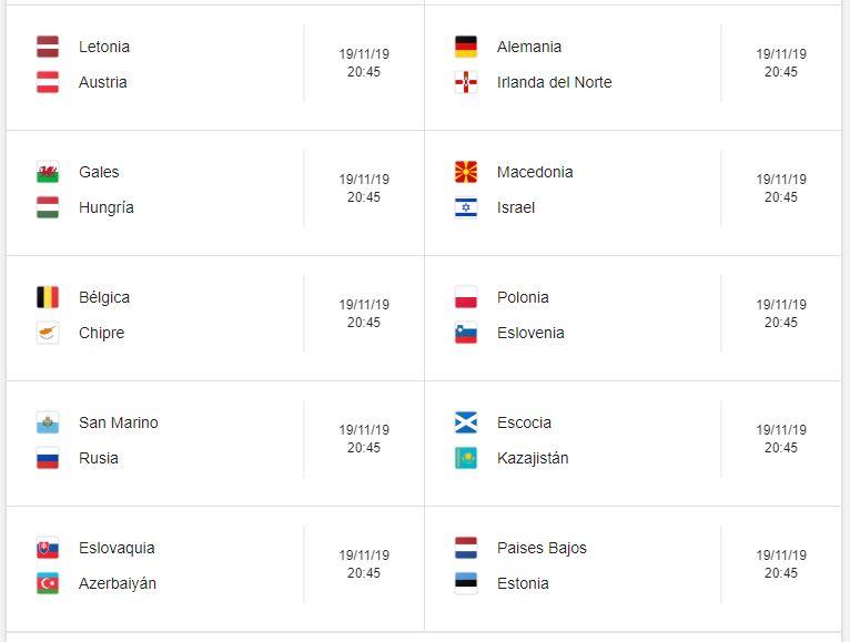 22 Calendario eliminatorias Eurocopa 2020 - 19 de noviembre 2019. Partidos de clasificación Eurocopa 2020. Juegos de las eliminatorias Eurocopa 2020. Partidos, fechas, hora, transmisiones eliminatorias Eurocopa 2020. Donde ver la Eurocopa 2020