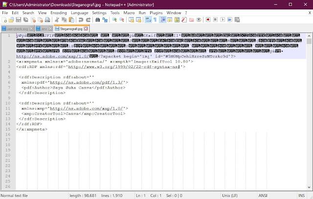 Isi data pesan steganografi dari sebuah file JPG