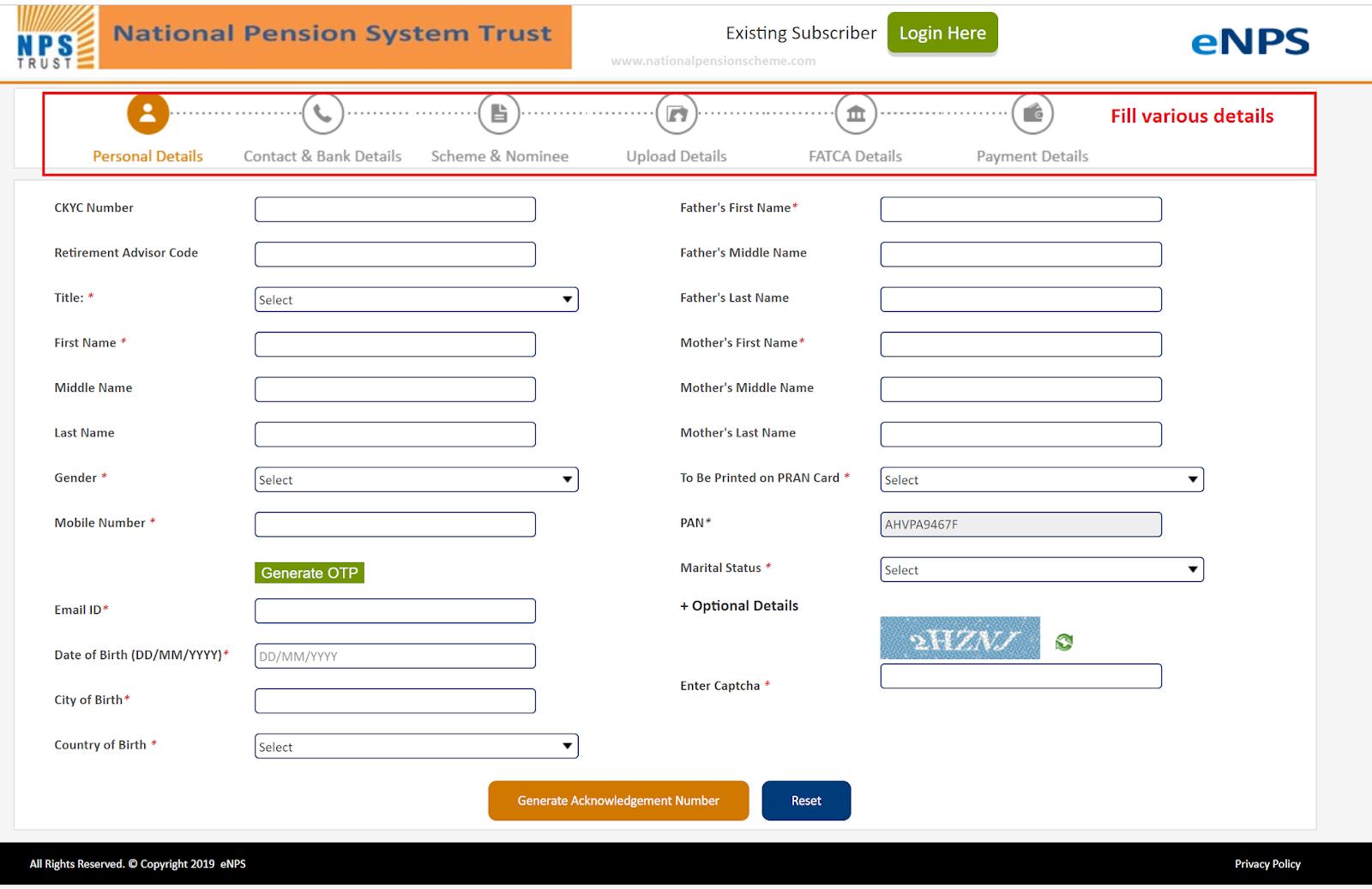 Screenshot of eNPS online application form on Karvy portal