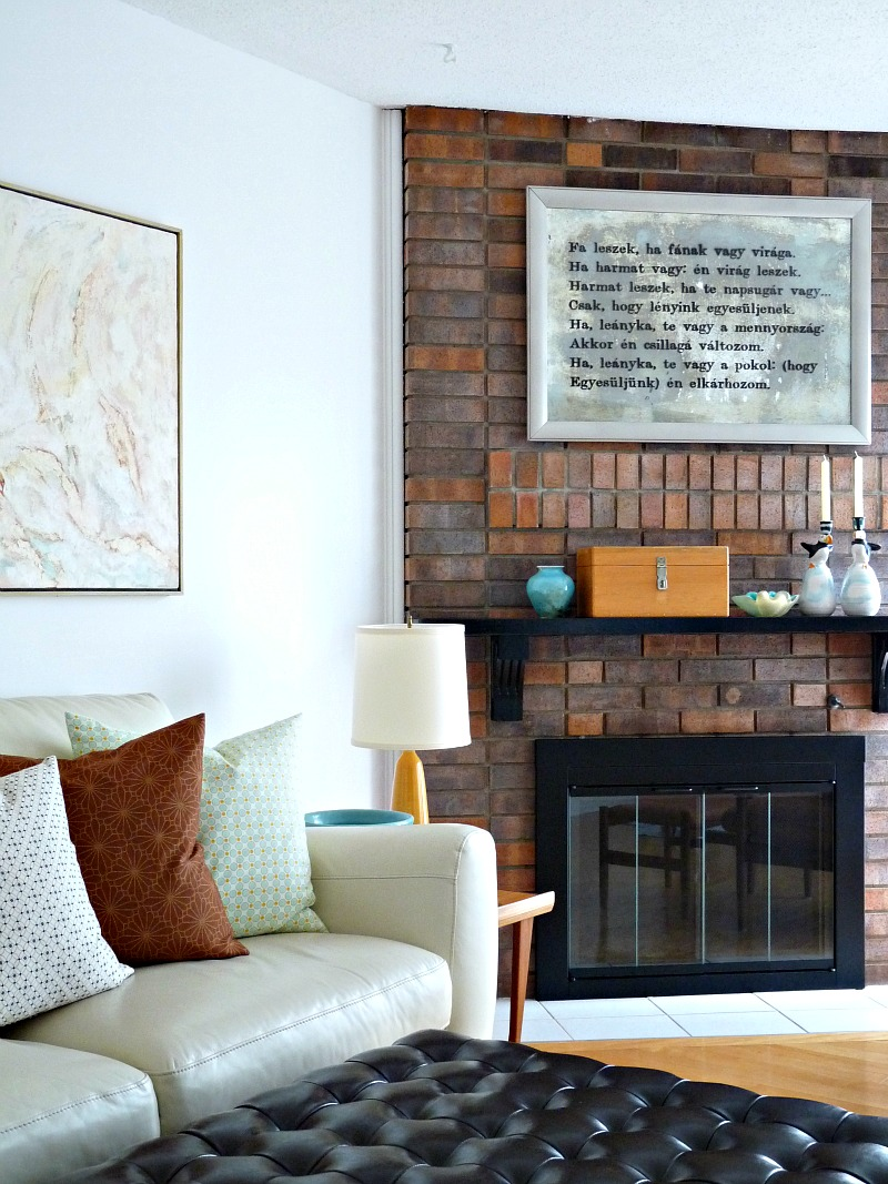 Masonry Fireplace with Modern Black Glass Doors