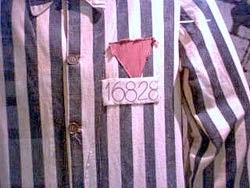 Triángulo rosa en la camisa