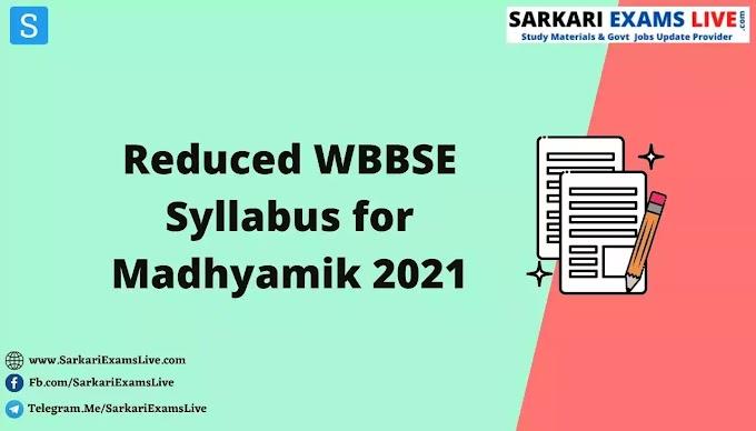 [PDF] Reduced Syllabus for Madhyamik 2021 | Download WBBSE Reduced New Syllabus for Madhyamik 2021