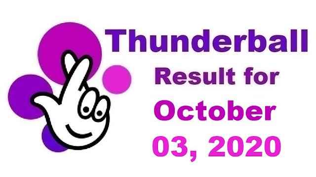 Thunderball Results for Saturday, October 03, 2020