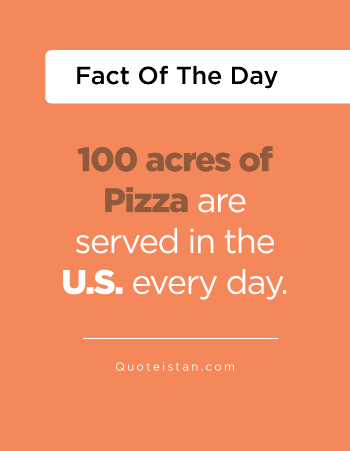 100 acres of Pizza are served in the U.S. every day.