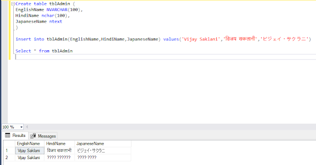 SQL SERVER : Store and Retrieve different languages  data from Table