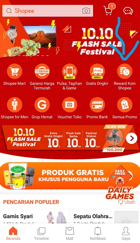 Klik Menu Reward Koin Shopee
