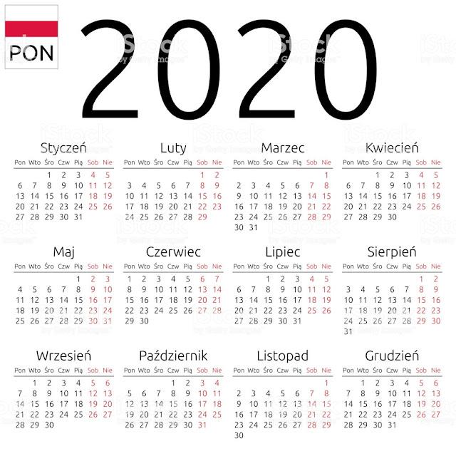 CALENDAR FOR YEAR 2020 POLAND