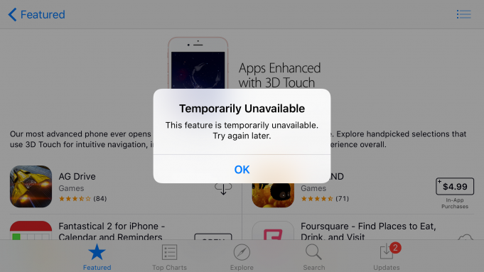 App Store has trouble functioning