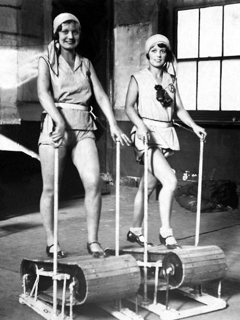 1920s photo of girls on treadmill in tap shoes and headscarves