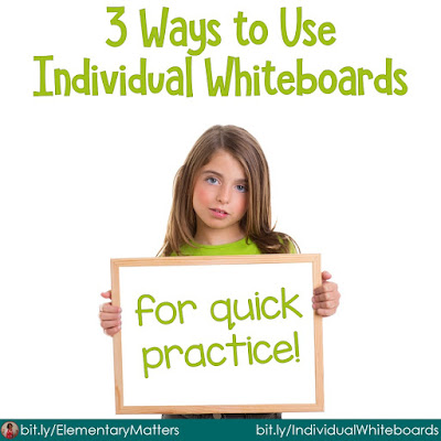 3 Ways to Use Individual Whiteboards for Quick Practice: There are plenty of ways to use individual whiteboards in the classroom each day. Here are three ways I use them!