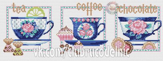 Motivo the, caffe e cioccolato  da ricamare a punto croce