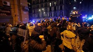 Hundreds protest, clash with police in Naples over new covid curfew