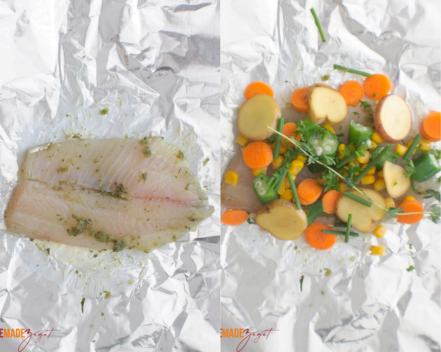 Steps on how to layer the fish for wrapping. Fish on top of the foil, then with the ingredients.