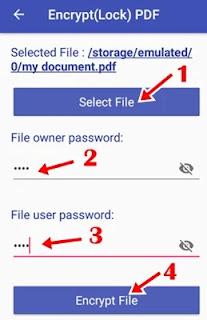 1 click select file 2 enter password 3 confirm password 4 click encrypt file