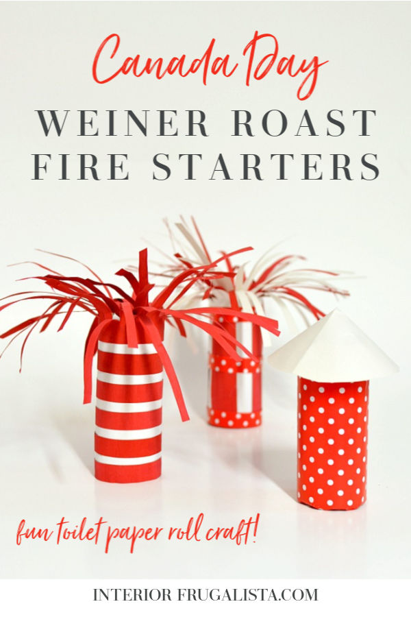 Add some extra fun to your Canada Day OR 4th of July wiener roasts with these DIY Patriotic Toilet Paper Roll Sparkler and Rocket Style Fire Starters! #toiletrollcraft #diyfirestarters #canadadaycrafts