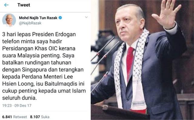 Demi Penuhi Undangan Erdogan Bela Palestina, PM Malaysia Batalkan Pertemuan dengan Singapura
