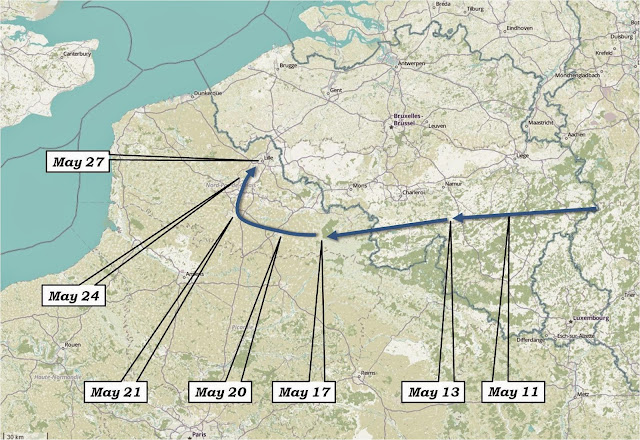 Overview of Rommel's advance from May 10 to May 27