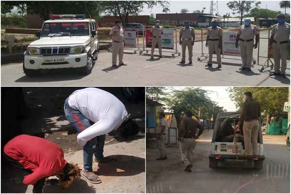 faridabad-police-strict-action-on-rule-breaker-1-april-2020-lock-down