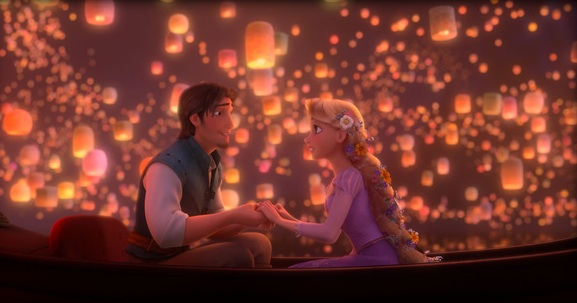 Rapunzel and Flynn holding hands in boat as paper lanterns flood the sky around them