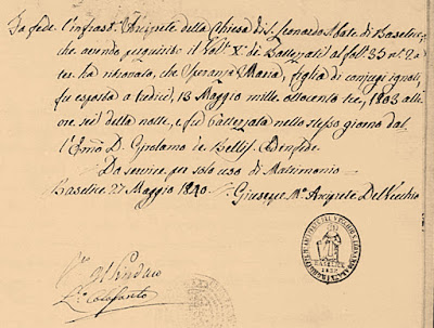 Italian birth record for Speranza Maria Esposito