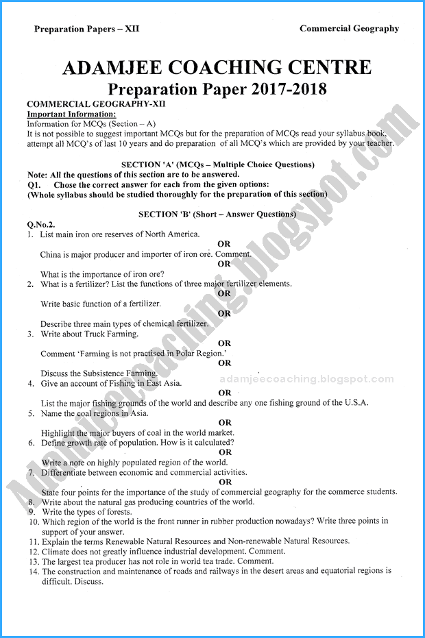 commercial-geography-12th-adamjee-coaching-guess-paper-2018-commerce-group