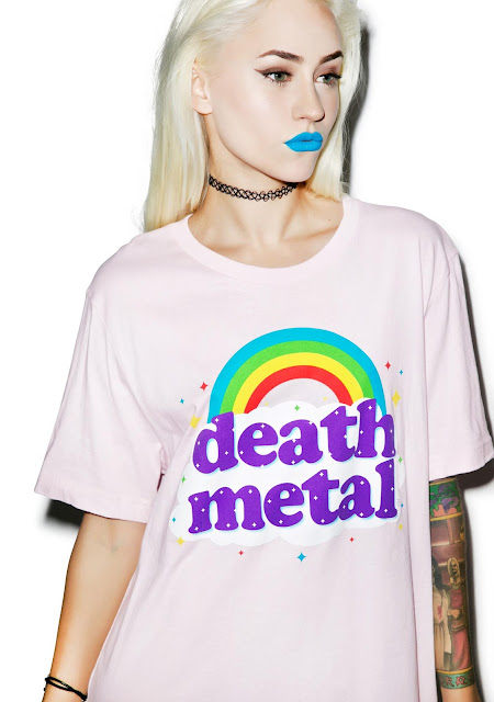 Death Metal cutie rainbow shirt surrounded by clouds, sparkles, and stars. :-)