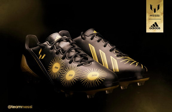 The specially-designed adidas adizero F50 boots for Lionel Messi