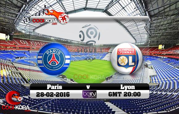 مشاهدة مباراة ليون وباريس سان جيرمان اليوم 28-2-2016 في الدوري الفرنسي