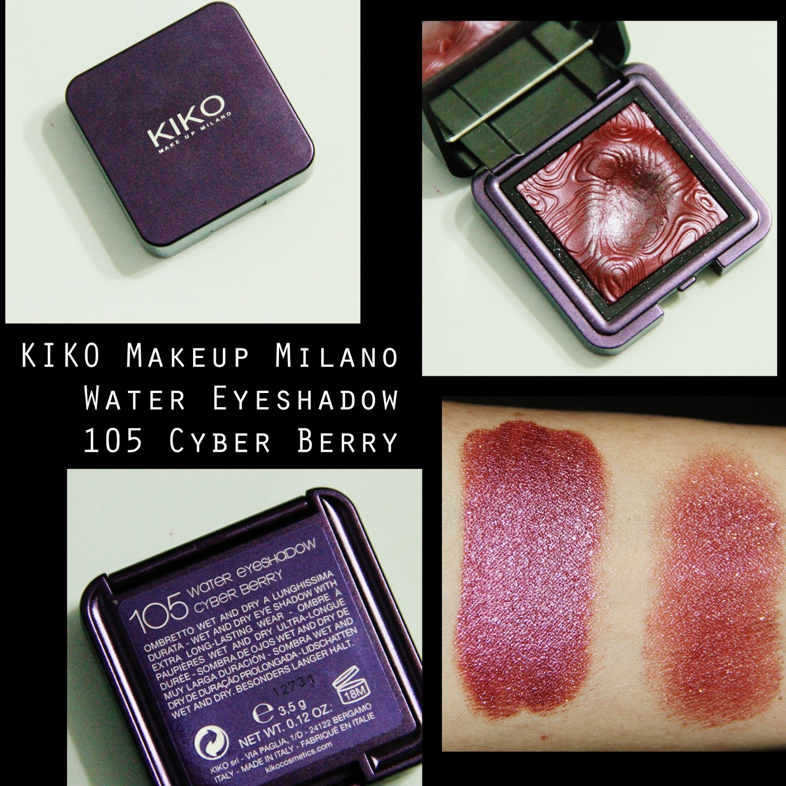 Michelaismyname Kiko Makeup Milano Water Eyeshadow 105 Cyber Berry - Kiko- makeup