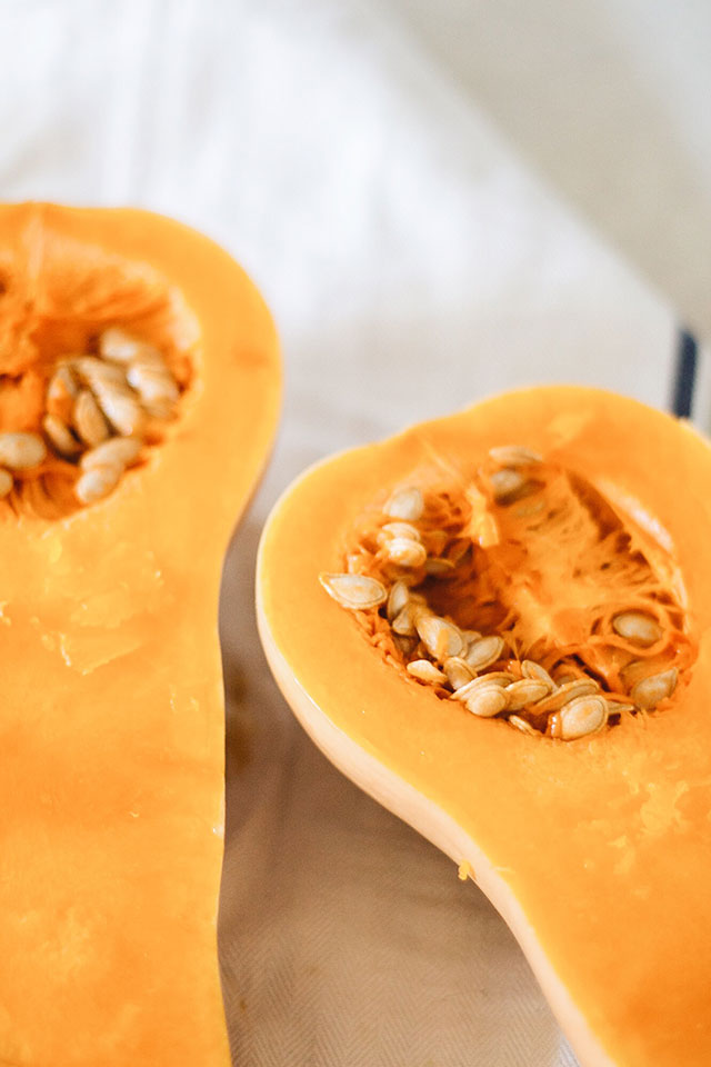 Prepping squash for butternut soup