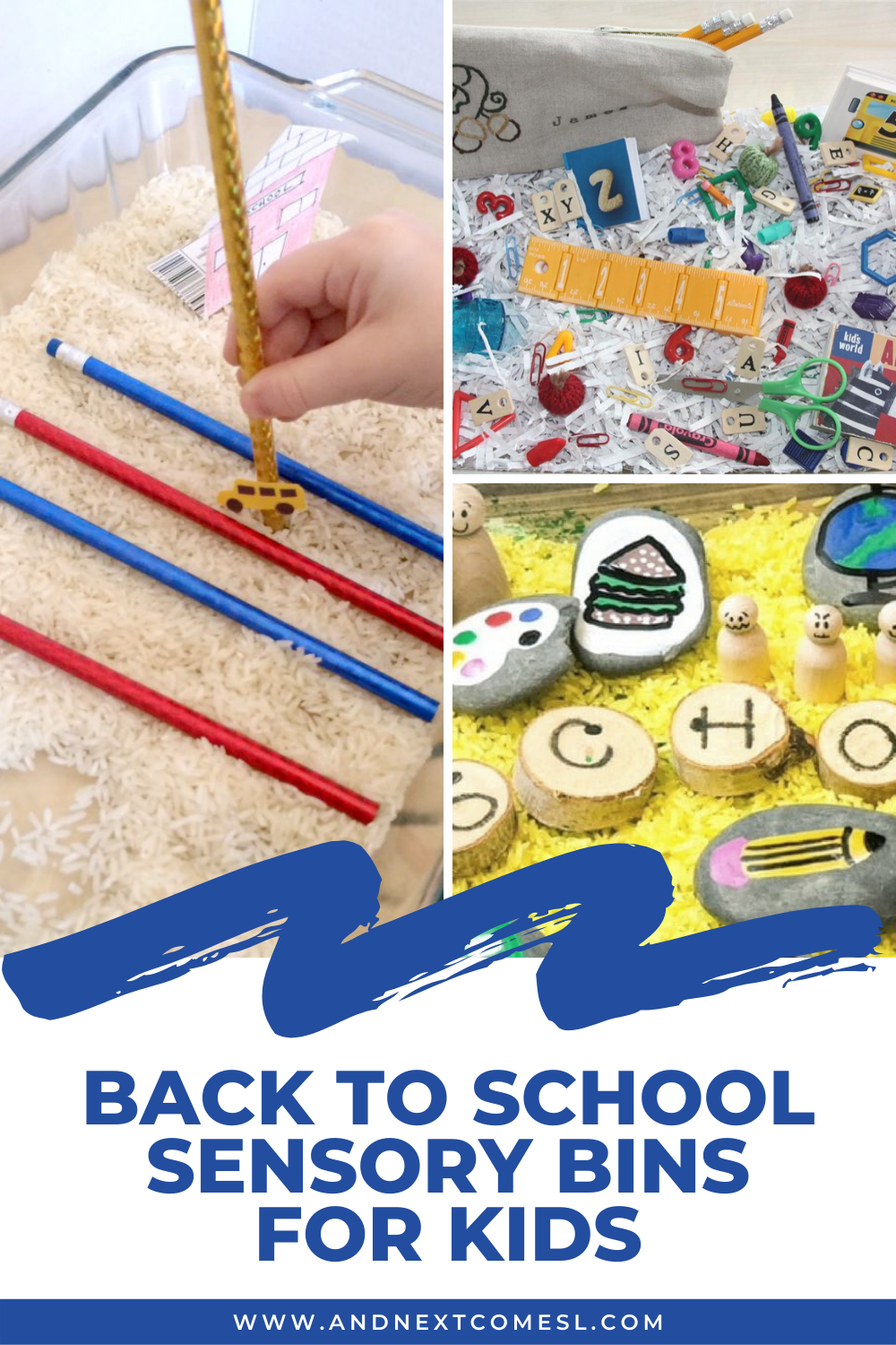 Fun back to school sensory bins for toddlers and preschoolers