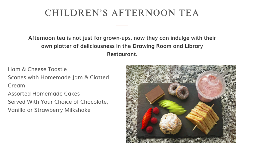 20+ Places you can book Children's Afternoon Tea in North East England - matfen hall