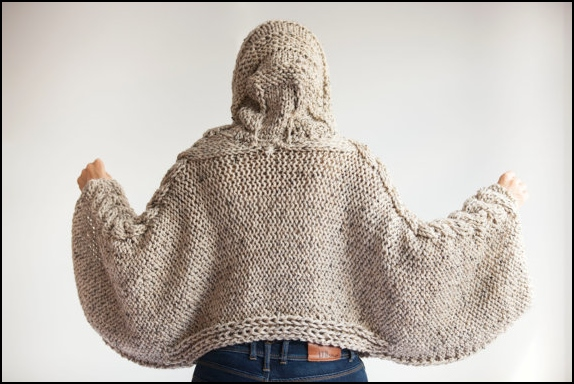 Poncho knitted two needles