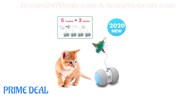 50% OFF Yvelife Robotic Interactive Cat Feather Toys for Indoor Cats,Automatic Moving Cat Toys with Large Capacity Battery,Cat Mice/Ball/Wand Toys for Kitten/Cats