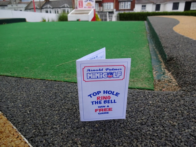 A scorecard from the Arnold Palmer Minigolf course in Southend-on-Sea