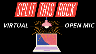"Split This Rock Virtual Open Mic announcement includes a black background with red Split This Rock logo, text that reads ""Virtual Open Mic,"" and an illustration of a hanging lamp sending out rays of light over a laptop."