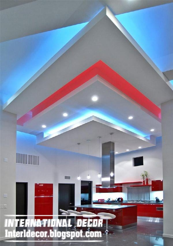 creative suspended ceiling design for modern kitchen