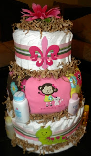 Brown And Pink Diaper Cake, Over The Apple Tree