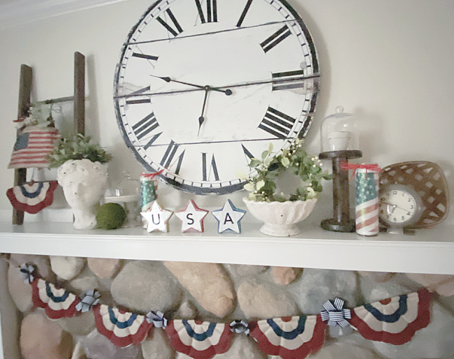 4th of July mantel and a large clock