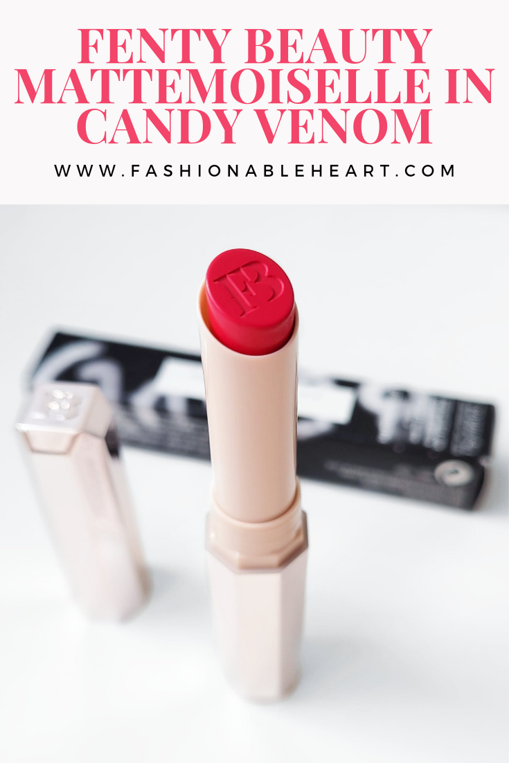 bblogger, bbloggers, bbloggerca, bbloggersca, canadian beauty bloggers, beauty blog, fenty beauty, mattemoiselle, lipstick, candy venom, matte lipstick, swatches, review, mattemoiselle lipstick, hand swatch, lip swatch, sephora canada