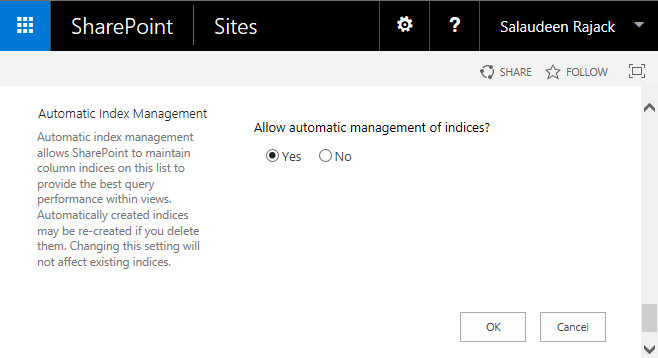 sharepoint 2016 automatic index