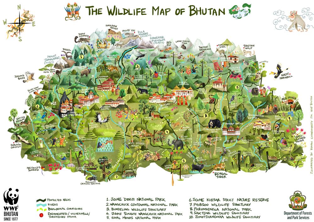 Green Humour The Wildlife Map Of Bhutan - Bhutan map
