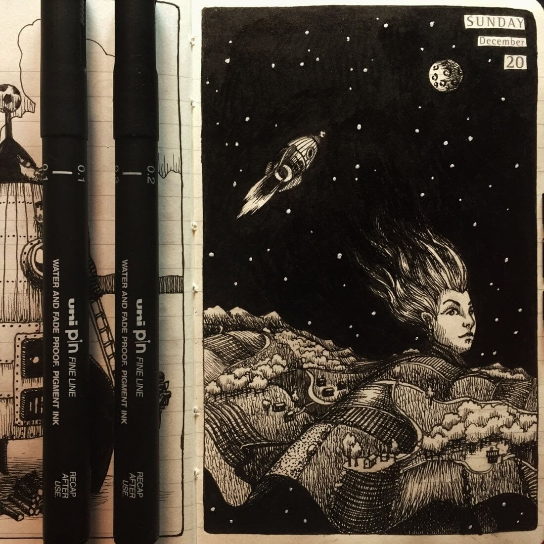 10-Travel-and-Responsibilities-Nina-Johansson-Moleskine-Diary-of-Surreal-Ink-Drawings-www-designstack-co
