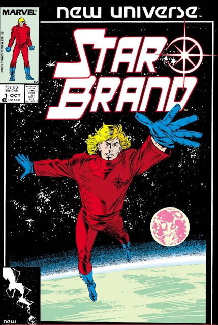Cover of Star Brand showing character in red suit flying above a planet's surface