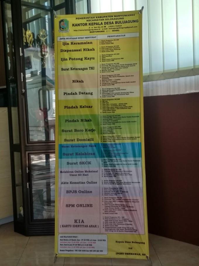 Jadwal jam pelayanan publik kantor Balaidesa Buluagung Kecamatan Siliragung Banyuwangi