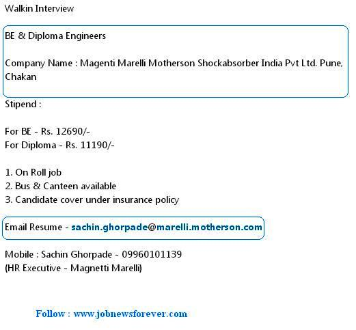 Walkin job interview for B.E and Diploma Engineers apply here.