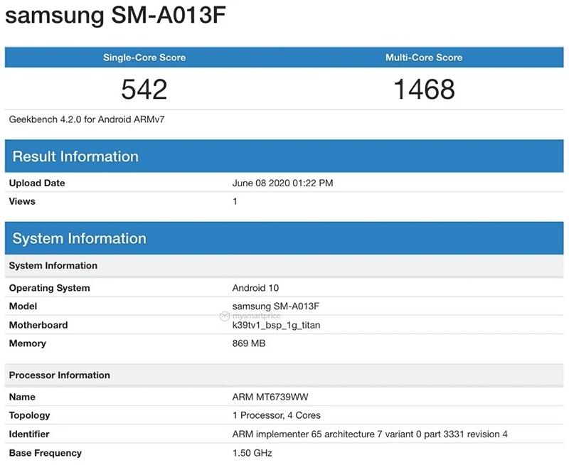 Alleged GeekBench score of Galaxy A01e