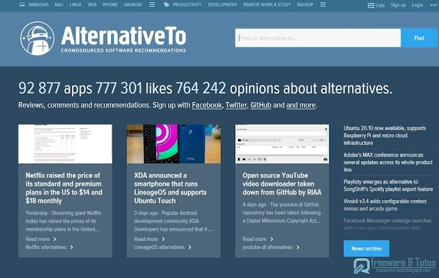 Le site du jour : AlternativeTo.net